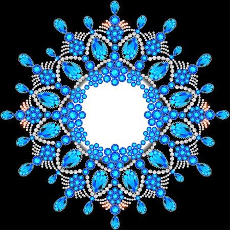 piedras preciosas: Fondo elegante con el ornamento circular de piedras preciosas