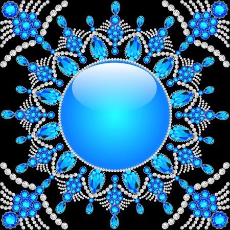 precious stones: Elegant background with circular ornament of precious stones