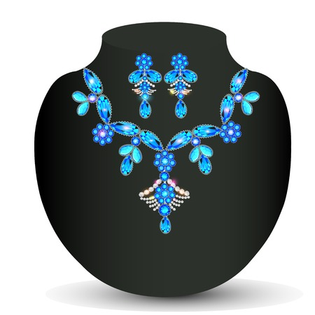 precious: illustration of womans necklace with  precious stones