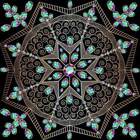 piedras preciosas: ilustración de fondo con adornos circulares de piedras preciosas y espirales