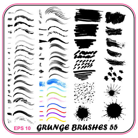 watercolor pen: illustration set of grungy brushes watercolor, pen