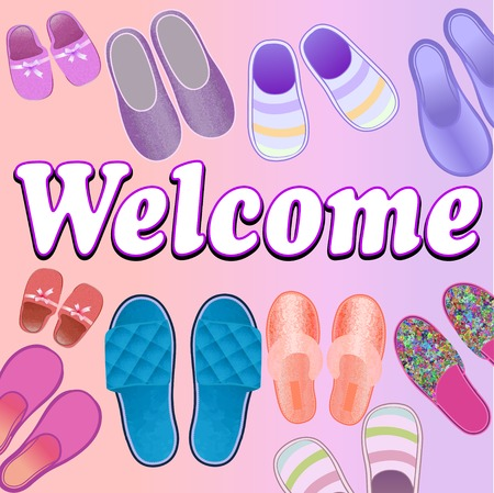 cozy: illustration background with slippers cozy and soft and text welcome Stock Photo