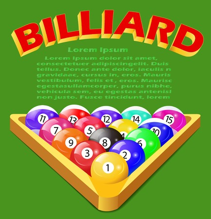8 ball billiards: Illustration of a green background with balls for billiards