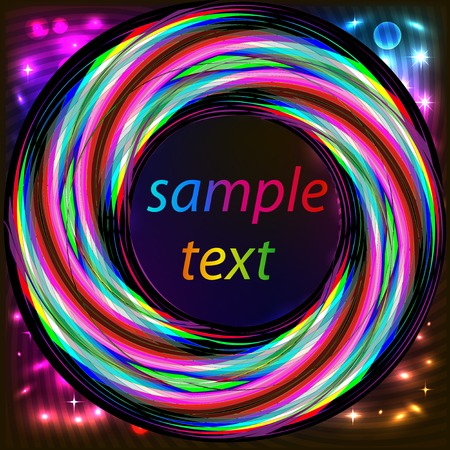 neon party: illustration background frame with abstract bright neon circle for text