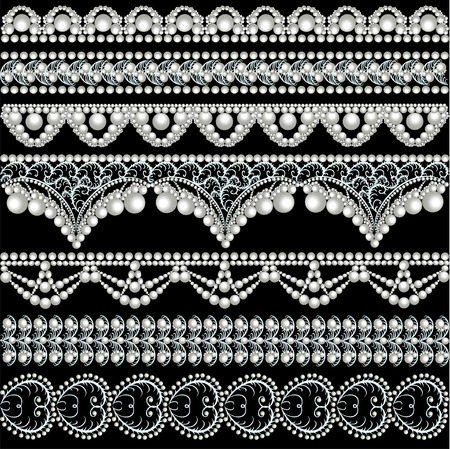 illustration set with lace ornaments with pearls Illustration
