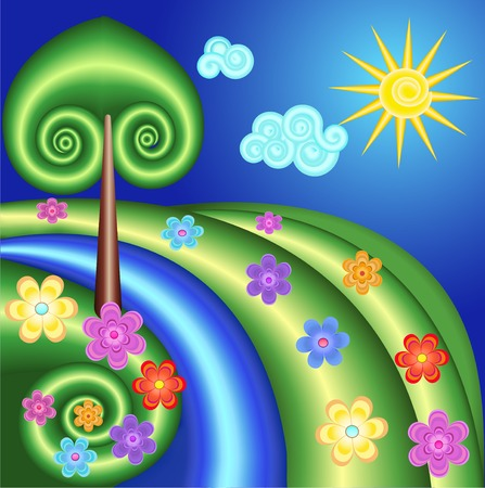 sun flowers: illustration background with tree, sun, flowers in a spiral