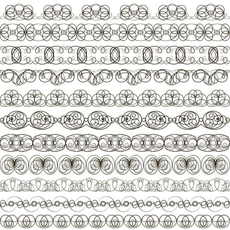 chapter: illustration background with set of linear calligraphic ornaments Illustration