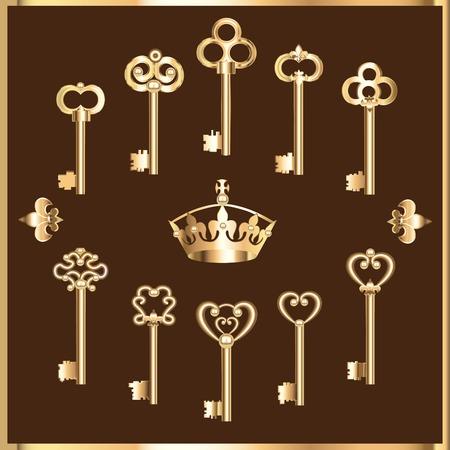 빈티지 골드 키의 집합의 그림