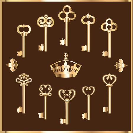door key: illustration of set of vintage gold keys