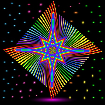 laser lights: illustration of abstract background with colorful star and rainbow glitter