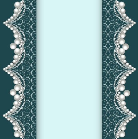 ornamented: illustration background with lace ornamented with pearls Illustration