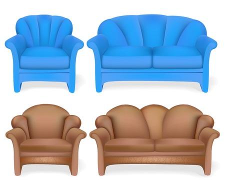 illustration set of upholstered furniture sofa chair Illustration