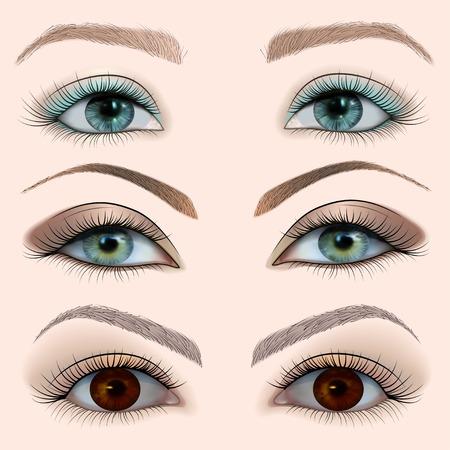 illustration set of a female eye with makeup Illustration