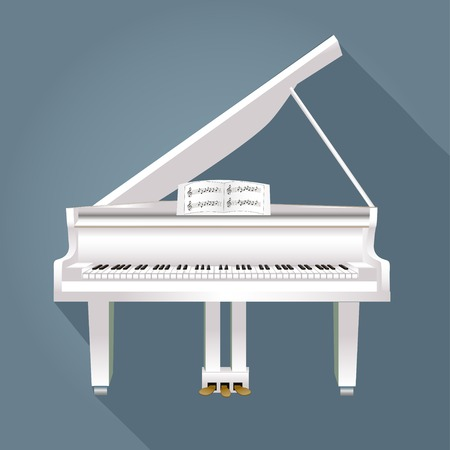grand open: illustration of a piano with notes of white on a gray background
