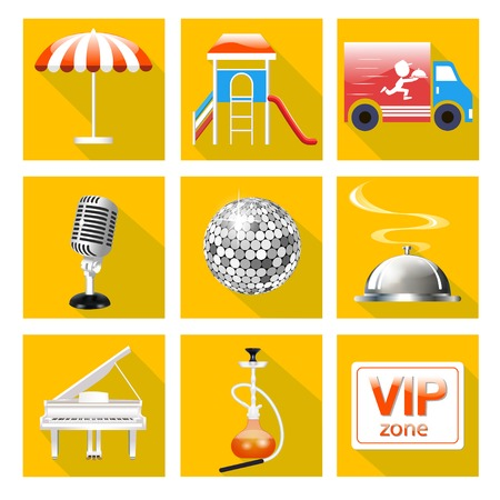 play popular: illustration of set of icons for the service of the restaurant is a Grand piano, dance floor, karaoke, Illustration