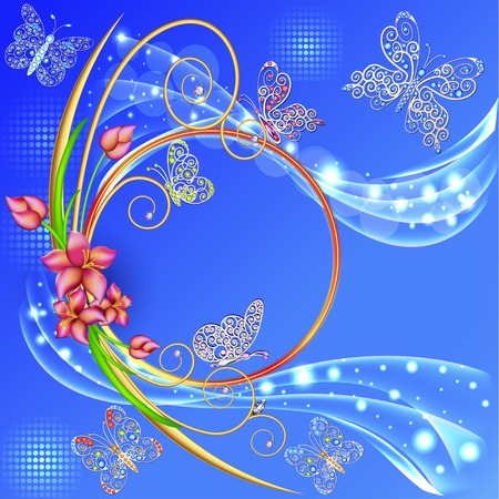 precious metal: illustration blue background frame with the circle of flowers and butterflies with gems