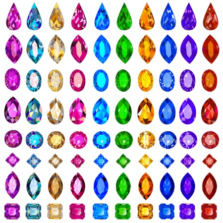 illustration set of precious stones of different cuts and col