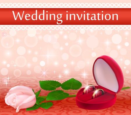 rose blanche: illustration de fond de mariage avec une rose blanche et des anneaux Illustration