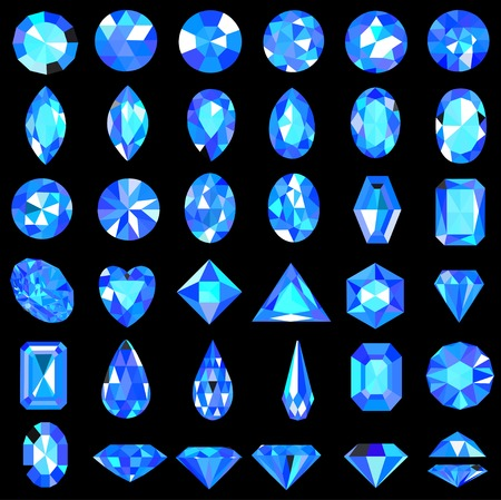 diamond shaped: Illustration set of blue gems of different cuts and shapes Illustration