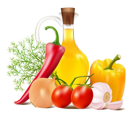 illustration still life in vegetables and vegetable oil