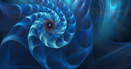 fractal: illustration of a fractal shell on the sea