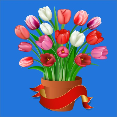 clay pot: illustration tulips in a clay pot with ribbon for your text Illustration