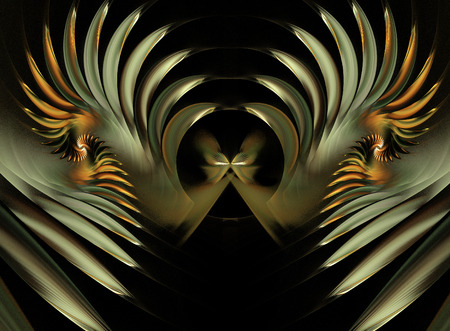 fractal illustration a butterfly and spiral golden glow Stock Photo