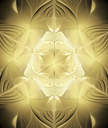 wealth abstract: fractal illustration background with shiny gold ornaments Stock Photo