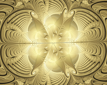 exoticism: fractal illustration background with shiny gold ornaments Stock Photo
