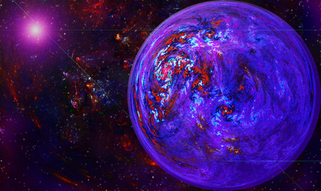 maelstrom: fractal illustration of a globe with a vortex in space against a background of stars