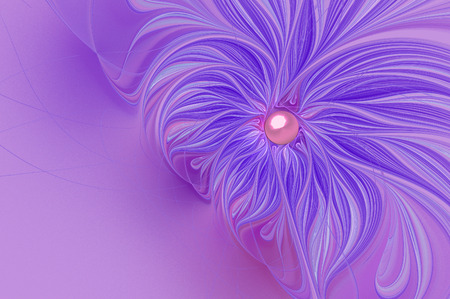 fractal pink: illustration of a fractal background with a delicate flower and copy space