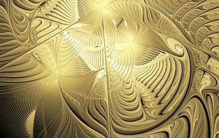 shiny gold: fractal illustration background with shiny gold carvings Stock Photo