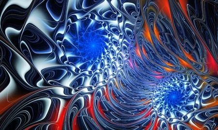 interlacing: illustration of metal spiral fractal background with interlacing