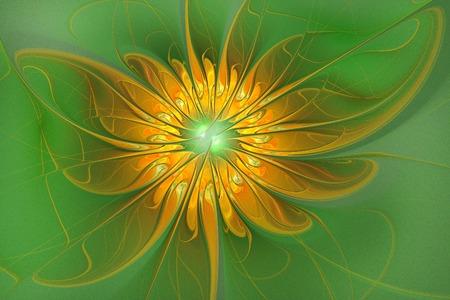 fractal background: illustration background fractal shining flower on a green background