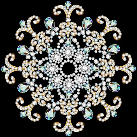 precious: illustration shiny snowflake made of precious stones on black background Illustration