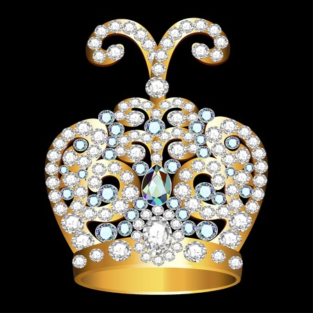 a precious: crown of gold  and precious stones on black Illustration