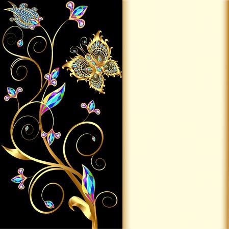 piedras preciosas: ilustración de fondo con mariposas y adornos de piedras preciosas