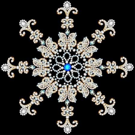 piedras preciosas: ilustración del copo de nieve brillante hecha de piedras preciosas en el fondo negro