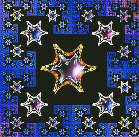 carpet flooring: fractal illustration background bright carpet with geometric snowflakes stars Stock Photo