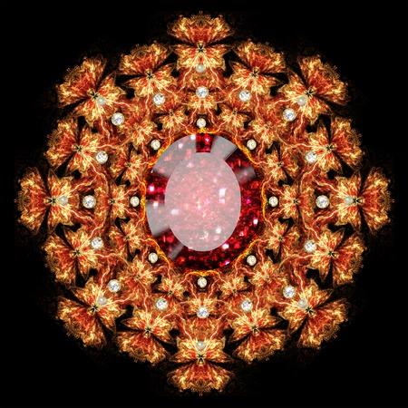 piedras preciosas: fractal ilustración broche de piedras preciosas sobre un fondo oscuro