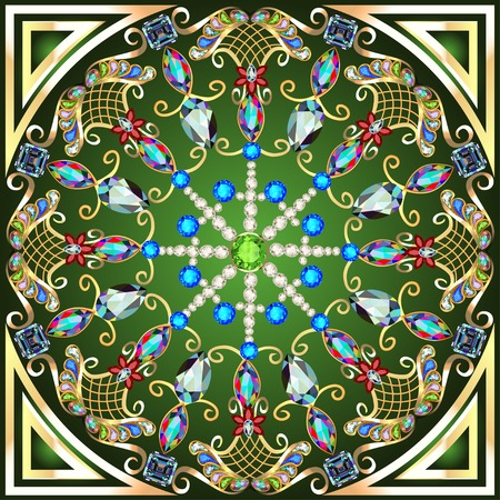 precious stones: illustration background with a circular gold ornaments with precious stones
