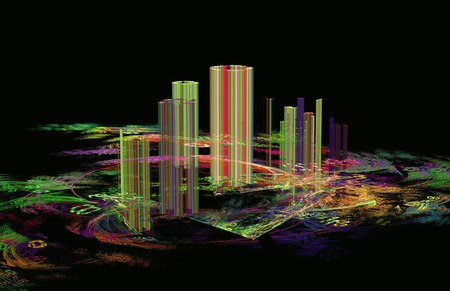 ghost town: illustration of fractal abstraction background blur ghost town Stock Photo