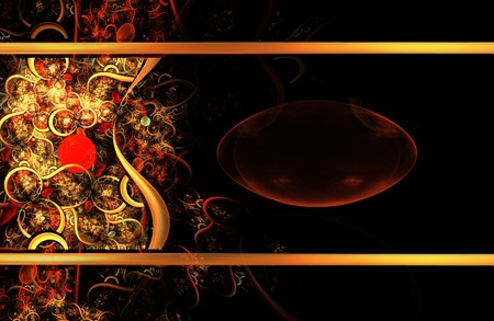fractal background: illustration jewelry fractal background with bright golden pattern and copy space