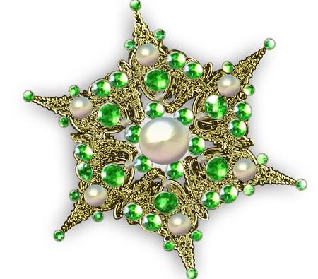 piedras preciosas: Ilustración fractal broche de estrellas con piedras preciosas