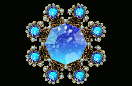 brooch: Illustration fractal gold brooch with blue gems and pearls