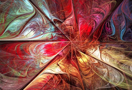 fractal background: illustration fractal background with bright autumn floral pattern
