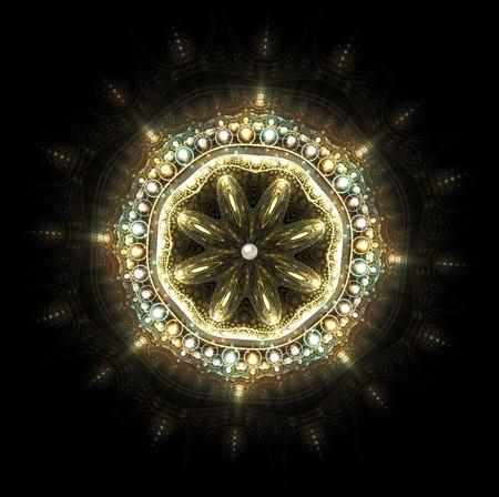 piedras preciosas: fractal brillante broche de joyería con piedras preciosas
