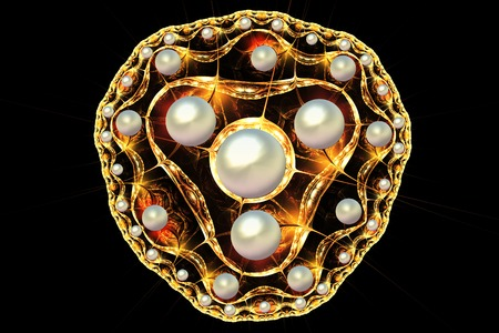 brooch: fractal illustration of a gold brooch with pearls