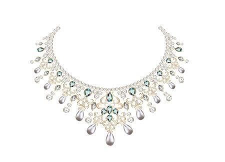 pietre preziose: illustrazione della collana della donna con perle e pietre preziose Vettoriali
