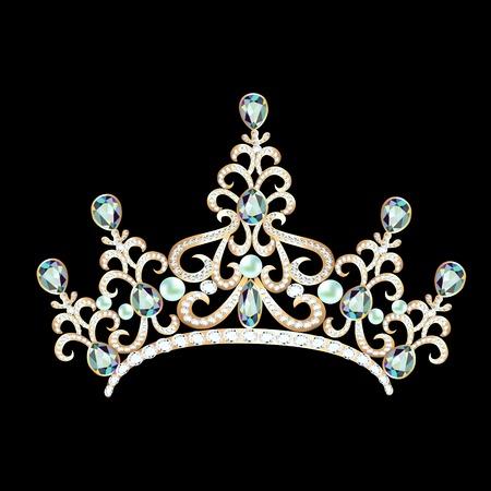diadem: illustration diadem feminine with brilliant gems on black